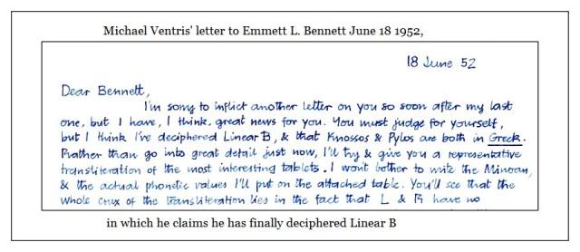 Ventris letter 18 june 1952