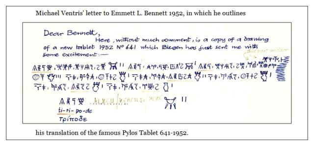Ventris letter Tiripode