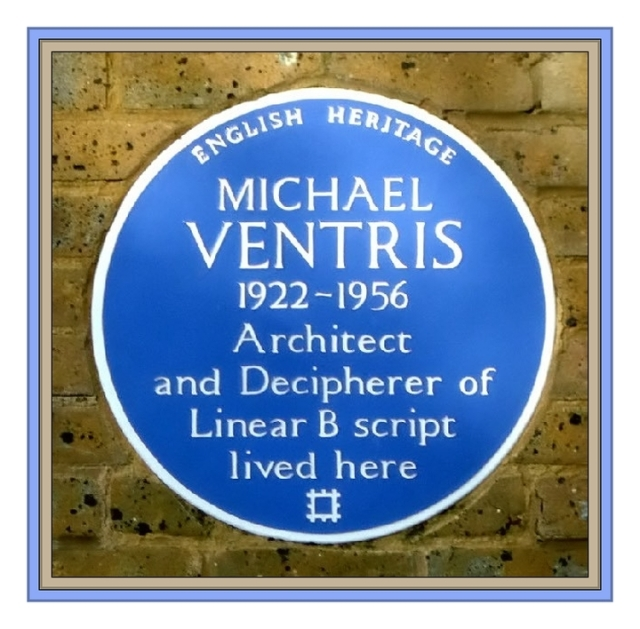 historical plaque at the home of Michael Ventris (1922-1952) decipherer of L inerar B