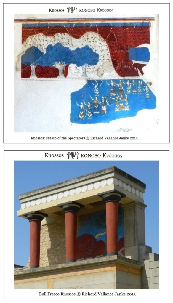 Knossos fresco of the spectators and bull fresco