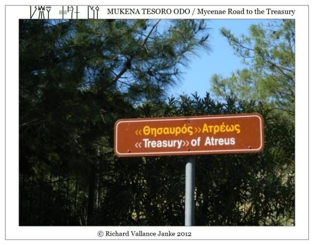 Mycenae directional sign to the Treasury of Atreus