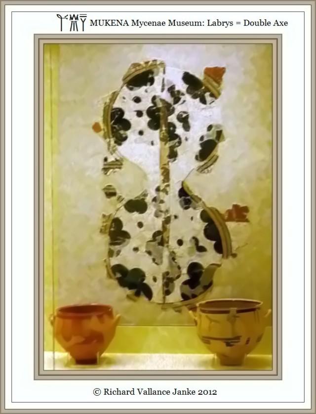 Mycenae Museum Fresco Labrys Double Axes