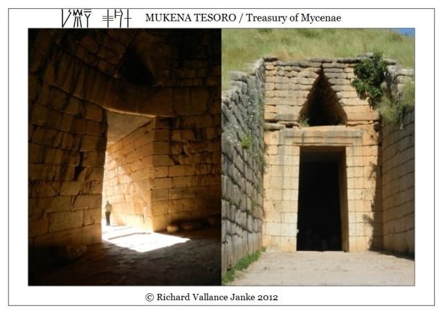 Mycenae Treasury of Atreus entrance inside and outside