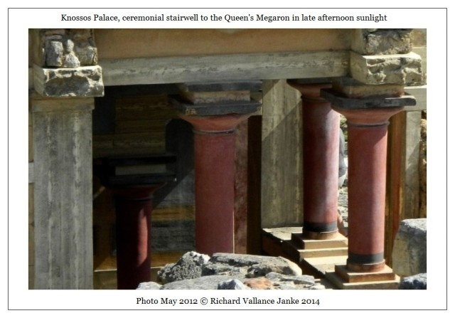 Knossos Queen's Megaron columns in late afternoon sunlight