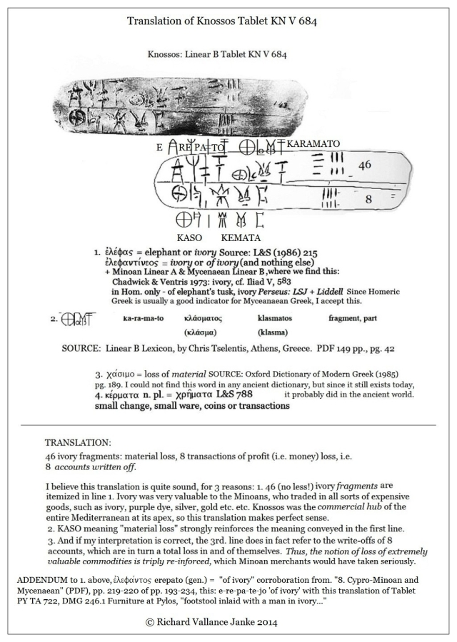 Linear B Tablet Knossos Kn V 684