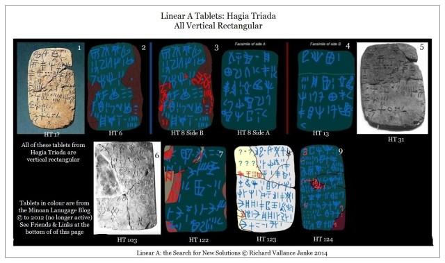 Linear A Tablets Hagia Triada HT 1 HT6 HT8 HT13 Ht31 HT103 HT122 HT123-124