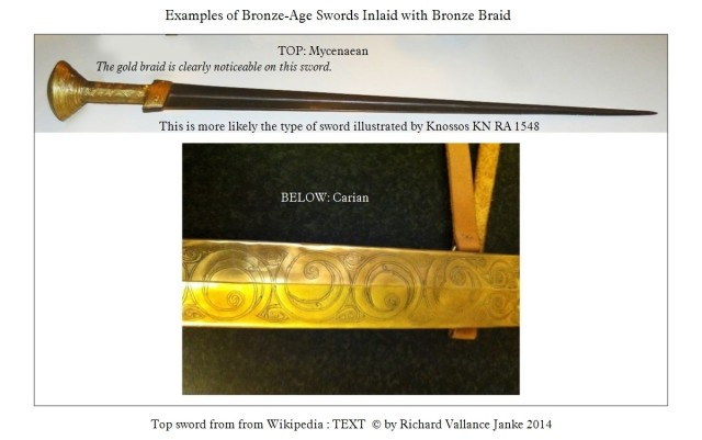 Bronze Age Sword inlaid with gold braid top & second example below