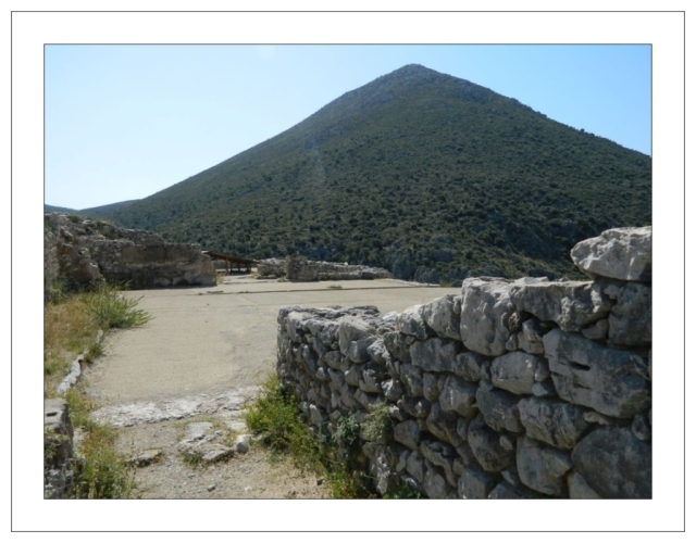 at the summit of Mycenae acropolis with famous mountain May 2012