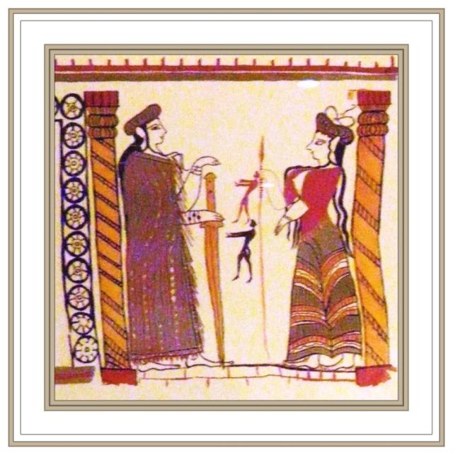 Mycenaean Fresco of priestess and acolyte, Mycenae Museum May 3 2012