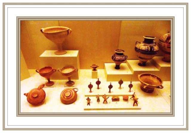 Mycenaean pottery pitchers and bowls, Mycenae Museum May 3 2012