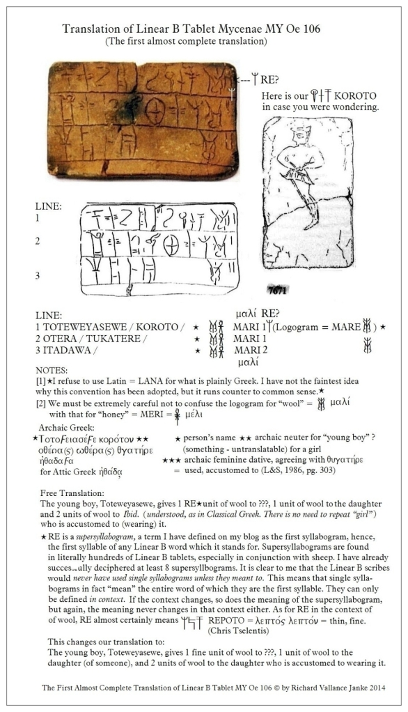Linear B tablet Mycenae MY Oe 106