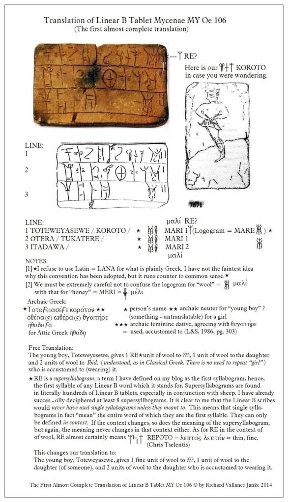 Linear B tablet Mycenae MY Oe 106