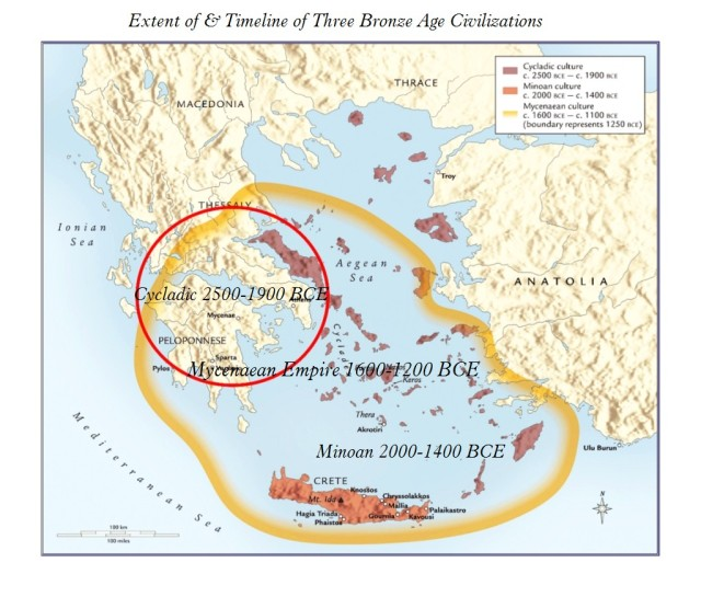 Map of Cycladic Minoan & Mycenaean Cultures