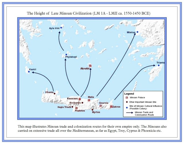 Map of Minoan settlements Minoan Empire