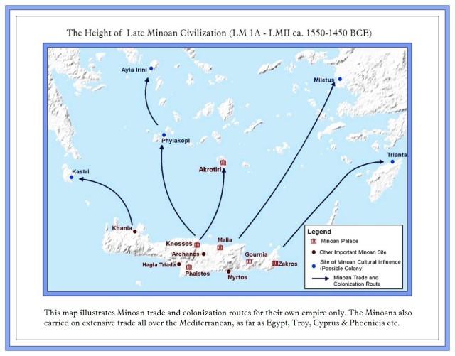 Map of Minoan settlements Minoan Empire