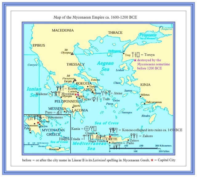 Map of Mycenaean and Minoan Greece