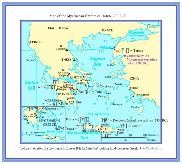 Map of Mycenaean and Minoan Greece