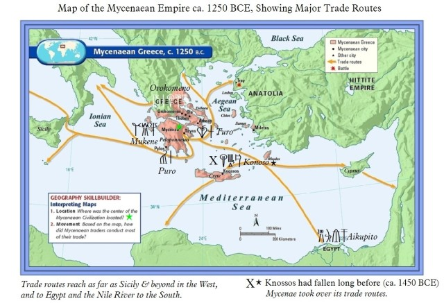 Map of Mycenaean Greece ca 1250 BCE