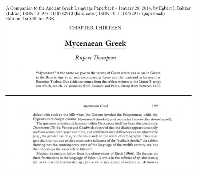 Bakker 2014 Chapter13 Mycenaean Greek