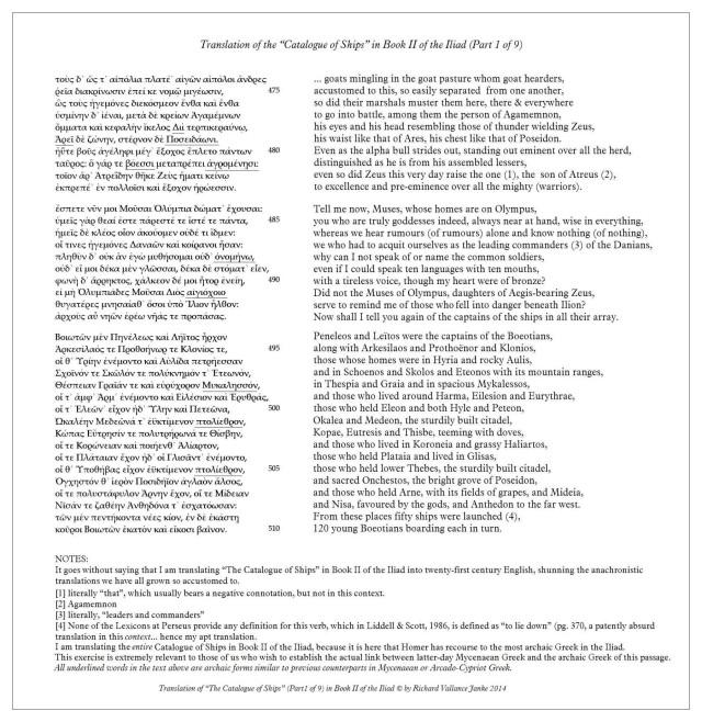 Homer Iliad 2 Catalogue of Ships Lines 474-510