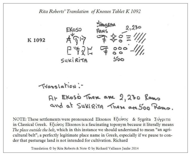 Knossos Tablet K 1092 translated by Rita Roberts 2014