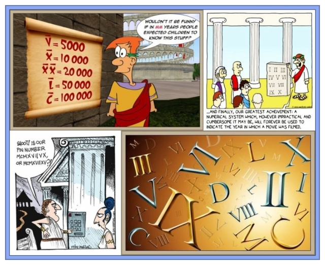 Composite 4 Cartoons Roman numerals