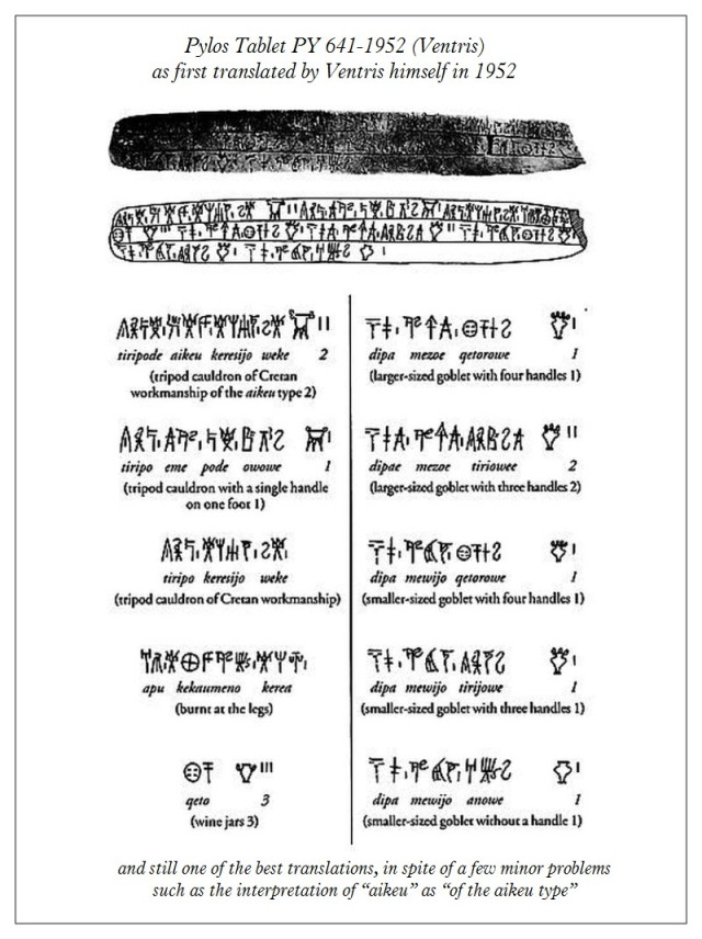 Pylos Tablet PY 641-1952 Ventis as transslated by Ventris in 1952