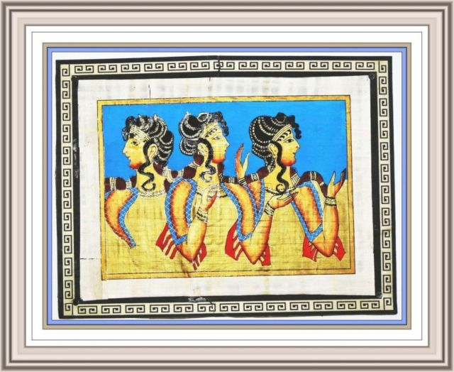 SILVER Replica of Les Parisiennes Fresco Knossos on papyrus