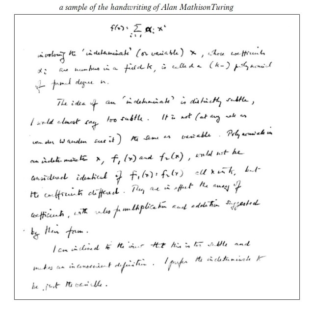 Alan Turing handwriting sample