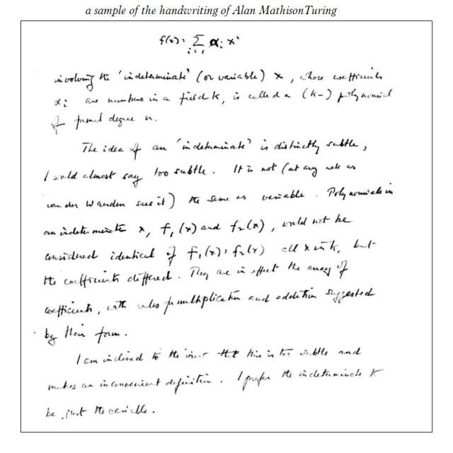 Alan Turing handwriting sample