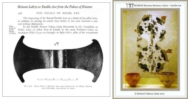 Labrys or Double Edged Axe from Knossos and Mycenae