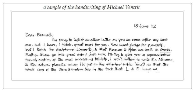 Michael Ventris handwriting letter 18 june 1952