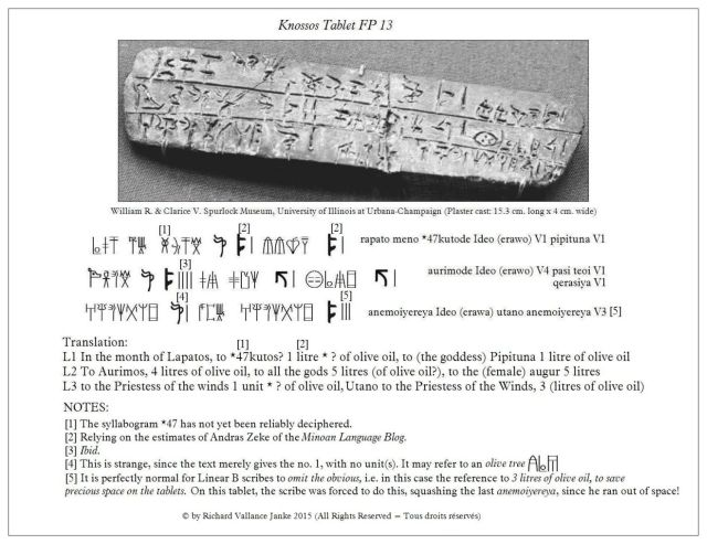 Translation of Knossos Tablet KN FP 13 RAPATO MENO