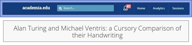 Alan Turing and Michael Ventris handwriting title