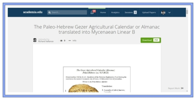 Paleo-Hebrew Gezer Calnder translated into Mycenaean Linear B