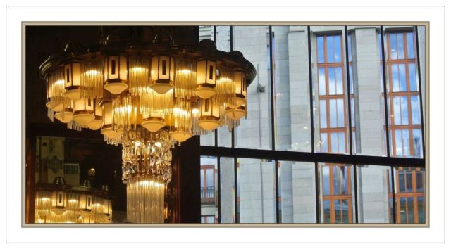 Prague Kavarna Obecni Dum chandelier reflections & window panes