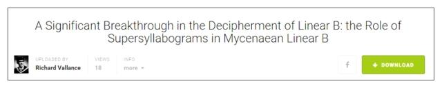breakthrough in decipherment ofx Mycenaean Linear B title