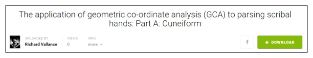 geometric co-ordinate analysis CGA applied to cuneiform