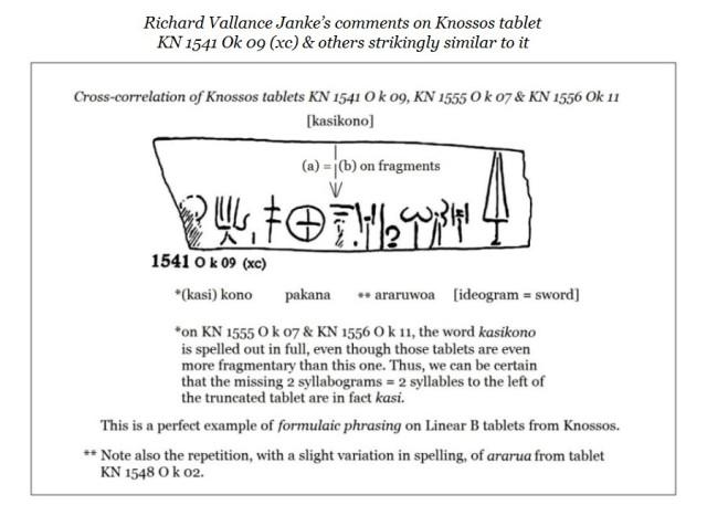 Knossos tablet KN 1541 O k 09 versus KN 1542 to KN 1556