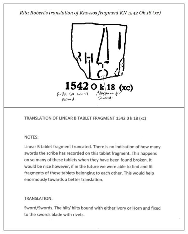 Knossos tablet KN1542 O k 18 (xc) Text