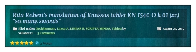Rita Roberts translaton of Knosssos tablet KN 1540 OK 01
