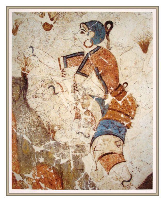 Cueilleuse_de_safran,_fresque,_Akrotiri,_Grèce