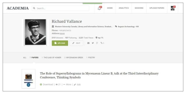 richard vallance academia