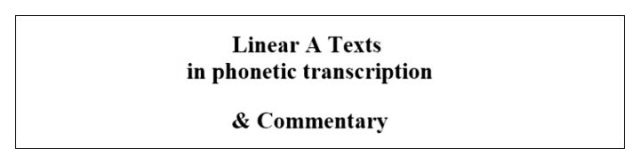 Linear A texts in transciption