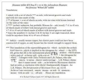 Translation of Knossos tablet KN 984 N v 01 Wheel ZE
