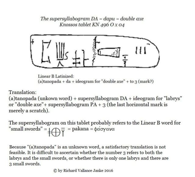 Knossos tablet KN 496 O x 04 and the supersyllabogram DA = labrys