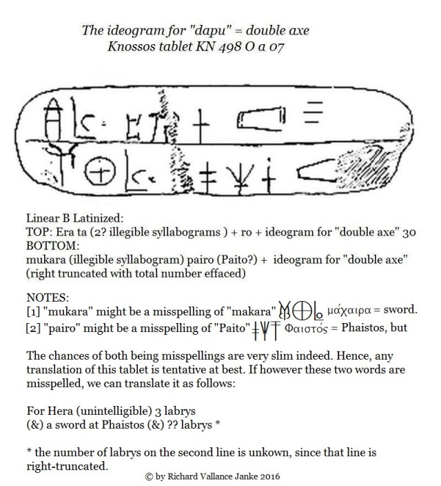 Knossos tablet KN 498 O a 07 & the ideogram = dapu = labrys