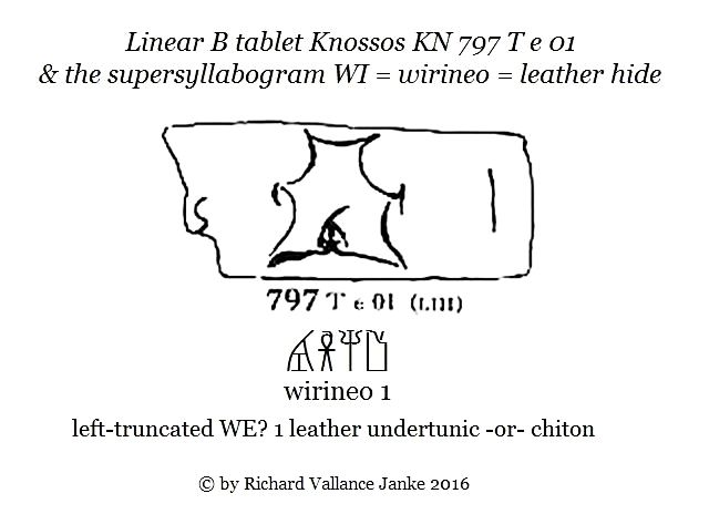 Linear B Knossos tablet KN 797 T e 01 leather hide or undertunic