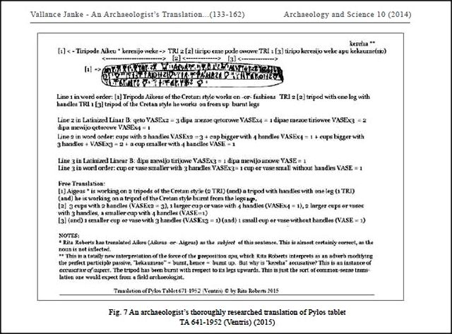 Rita Robert's translation of Pylos tablet 641-1952