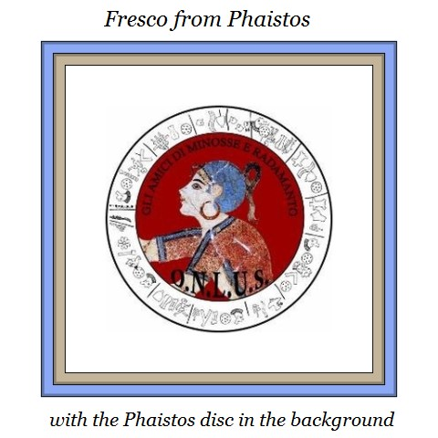 fresco image from Phaistos with Phastos disk in background